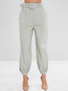 Buttoned Cuffs High Waisted Joggers Pants - Dark Sea Green S