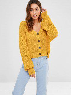 Extra Long Sleeve Open Knit Cardigan - Mustard M