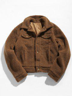 ZAFUL Snap Button Pocket Fluffy Jacket - Coffee S