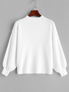 Drop Shoulder Plain Lantern Sleeve Sweater - White