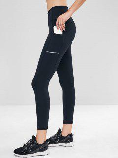 Side Pocket Wide Waistband Gym Leggings - Black M