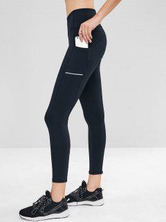 Side Pocket Wide Waistband Gym Leggings - Black S