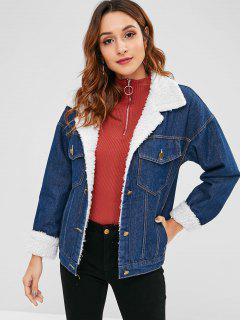 Faux Shearling Lined Denim Jacket - Denim Dark Blue L
