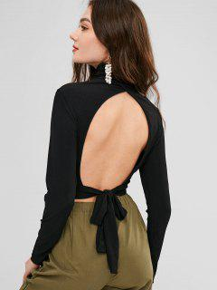 Open Back Ribbed Turtleneck Crop Top - Black L