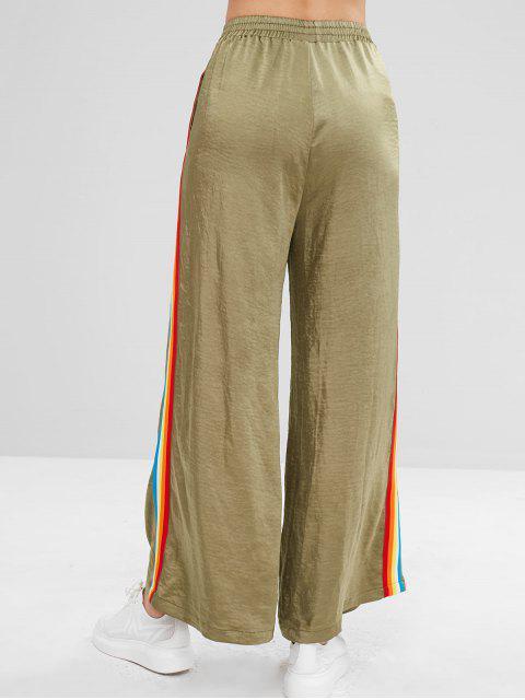 Pantalones anchos de rayas de arco iris ZAFUL - Verde de Helecho L Mobile