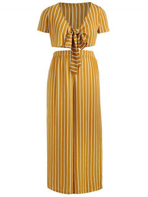 chic ZAFUL Plus Size Striped Knotted Pants Set - ORANGE GOLD 3X Mobile