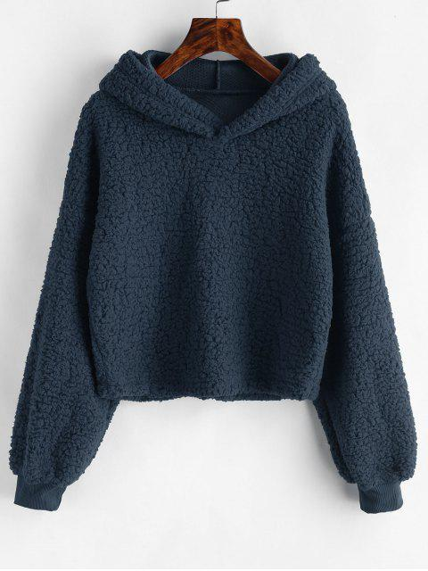 Sudadera con capucha de piel sintética suelta - Azul Marino  M Mobile