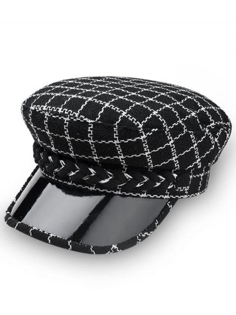 women Stylish Plaid Flat Top Hat - BLACK  Mobile