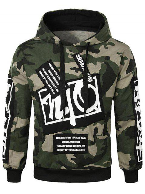 shop Casual Letter Applique Camo Hoodie - ARMY GREEN M Mobile