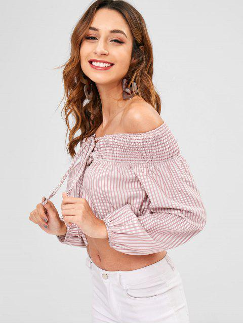 trendy ZAFUL Stripe Lace-up Smocked Blouse - PINK L Mobile