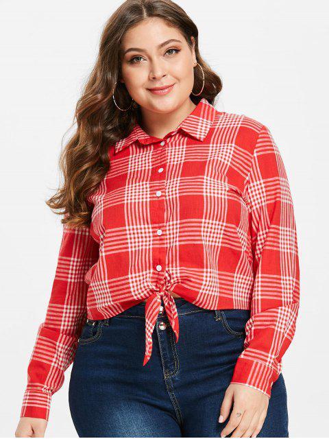 ZAFUL Tie Front Plaid Plus Size Shirt - Rojo Lava 2X Mobile