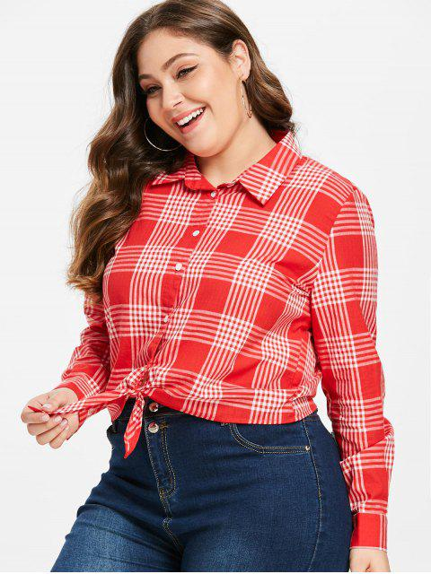 buy ZAFUL Tie Front Plaid Plus Size Shirt - LAVA RED 2X Mobile