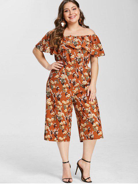 ZAFUL Plus Size Floral Print Loose Jumpsuit - Caramelo 3X Mobile