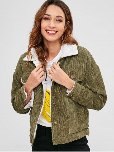 Fleece Drop Shoulder Pocket Coat - Verde de Mar  M Mobile