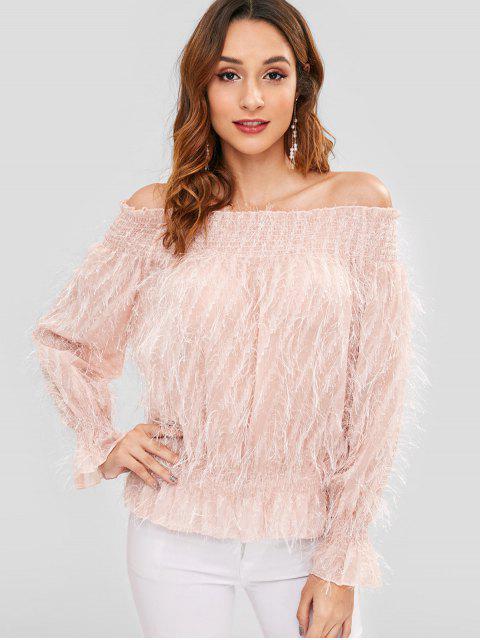 Blusa transparente con hombros descubiertos - Rosa Naranja Talla única Mobile