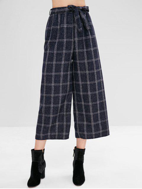 Pantalones de cuadros de pierna ancha con cinturón - Multicolor M Mobile