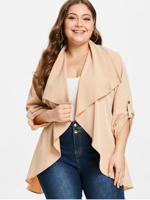 new ZAFUL Plus Size Tunic Belted Coat - APRICOT 3X Mobile