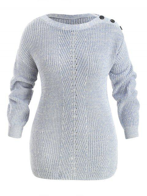 buy Plus Size Drop Shoulder Button Sweater - BLUE GRAY 4X Mobile