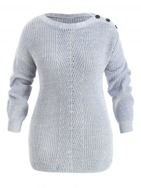 Suéter con botón caído en talla grande - Gris Azulado 3X Mobile