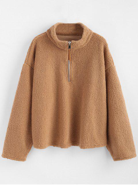 Sudadera con capucha extragrande con cremallera y media calada - Camel Marrón L Mobile
