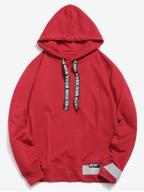 outfit Letter Print Ribbon Embellished Hoodie - RED M Mobile