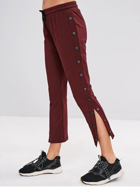 shop ZAFUL Drawstring Button Side Pants - RED WINE L Mobile