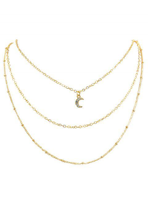 womens Rhinestone Moon Multi Layers Elegant Necklace - GOLD  Mobile