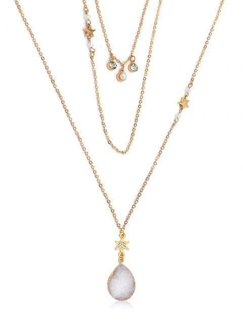 lady Multi Layered Rhinestone Star Water Drop Necklace - GOLD  Mobile