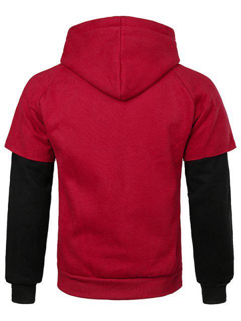 sale False Two Pieces Kanga Pocket Hoodie - RED 2XL Mobile
