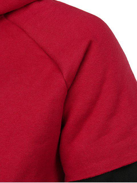 Sweat à Capuche avec Poche Kangourou Fausse Deux Pièces - Rouge 2XL Mobile