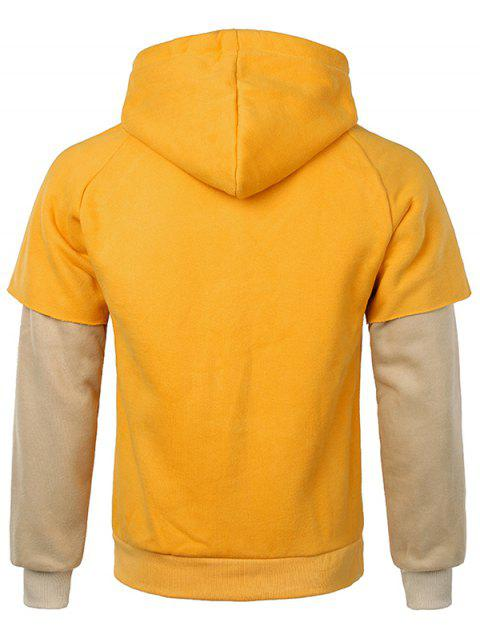 buy False Two Pieces Kanga Pocket Hoodie - GOLDEN BROWN XS Mobile