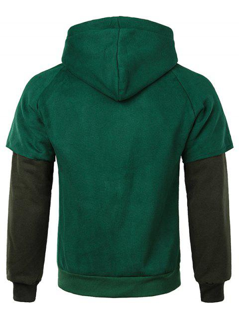 fashion False Two Pieces Kanga Pocket Hoodie - MEDIUM SEA GREEN S Mobile