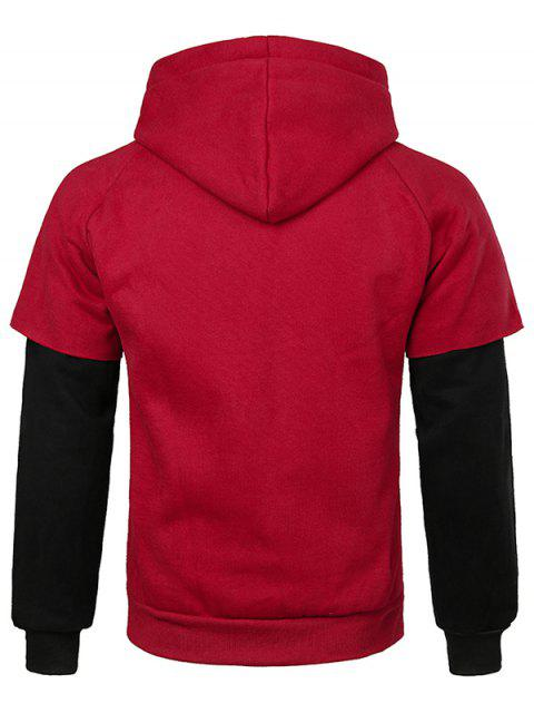 best False Two Pieces Kanga Pocket Hoodie - RED XL Mobile