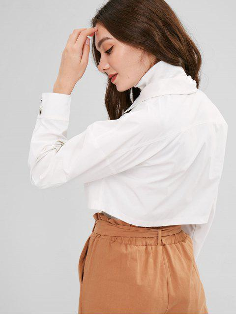 women's ZAFUL Snap Button Zip Up Cropped Jacket - WHITE M Mobile
