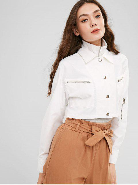 best ZAFUL Snap Button Zip Up Cropped Jacket - WHITE S Mobile