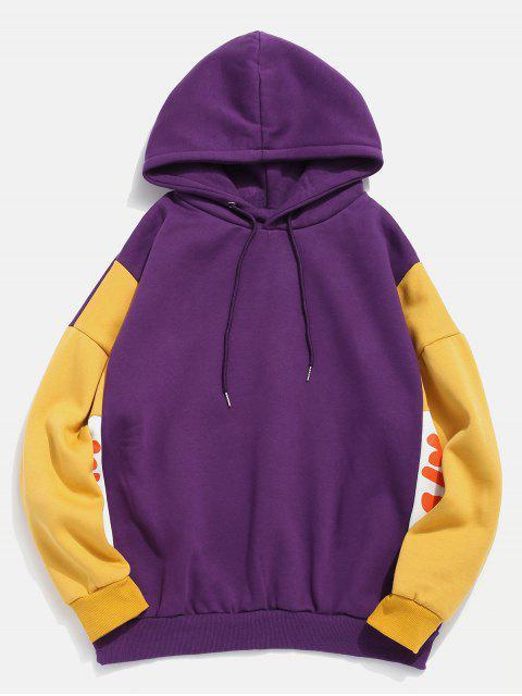 fancy Fleece Lined Color Block Graphic Hoodie - PURPLE XL Mobile