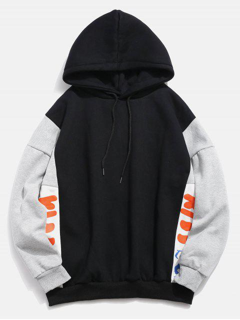 latest Fleece Lined Color Block Graphic Hoodie - BLACK XL Mobile