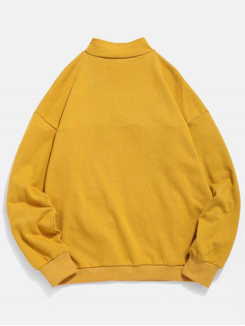 unique Half Zip Pockets Letter Sweatshirt - YELLOW L Mobile