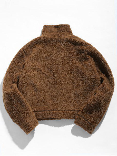ZAFUL Snap Button Pocket Fluffy Jacket - قهوة 2XL Mobile