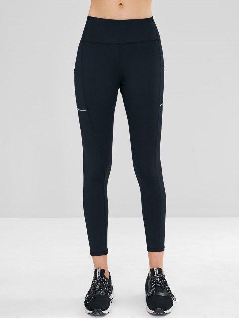 shops Side Pocket Wide Waistband Gym Leggings - BLACK S Mobile