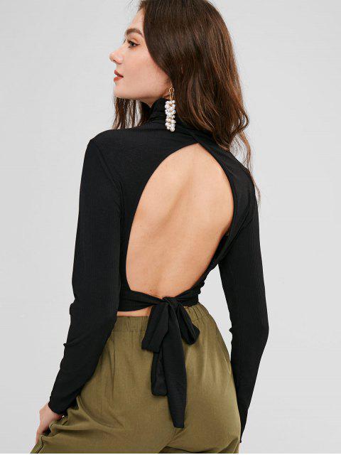 Crop Top de cuello alto con canalé abierto - Negro M Mobile