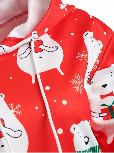 Plus Size Christmas Graphic Hoodie - 紅 1X Mobile