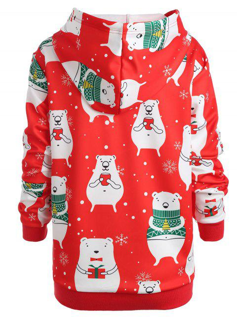 Plus Size Christmas Graphic Hoodie - 紅 L Mobile