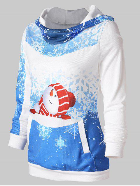 online Christmas Snowman Print Pullover Hoodie - BLUE XL Mobile