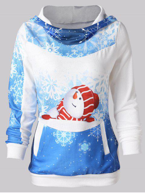 Christmas Snowman Print Pullover Hoodie - 藍色 L Mobile