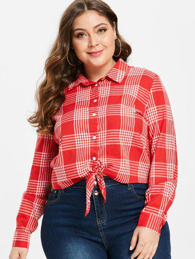 ZAFUL Tie Front Plaid Plus Size Shirt - Lava Red 3x