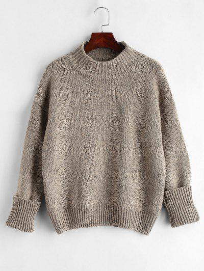 Plain Heathered Pullover Sweater - Multi