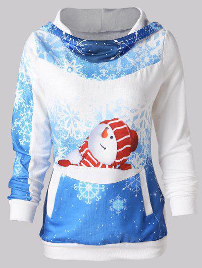 Moletom Do Pulôver Da Impressão Do Boneco De Neve Do Natal - Azul Xl