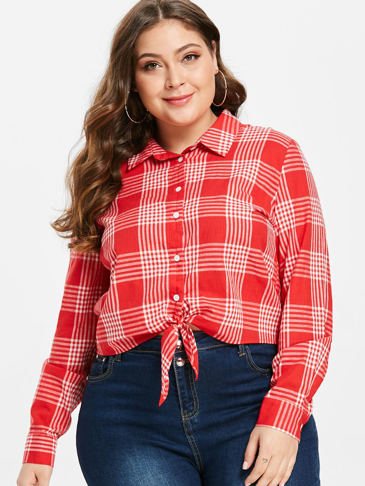 ZAFUL Tie Front Plaid Plus Size Shirt