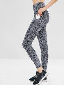 Heather Pocket Gym Leggings - اللون الرمادي M